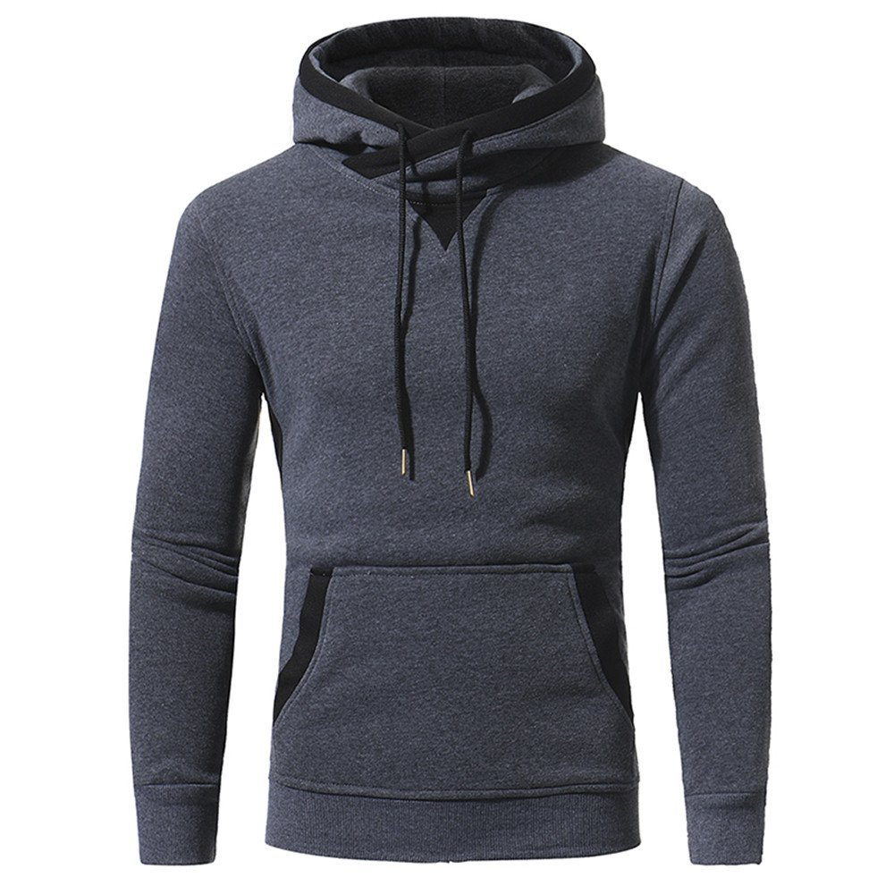 Lisux Herbst und Winter Coat Pullover Mode männer Patch Kapuzenpulli Mantel ärmel Kopf,dunkelgrau,2XL