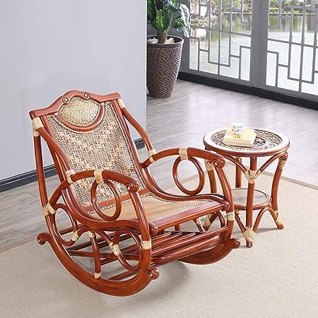 XUE Chaise à Bascule, en Osier Chaise rotin Bois Ancienne ...