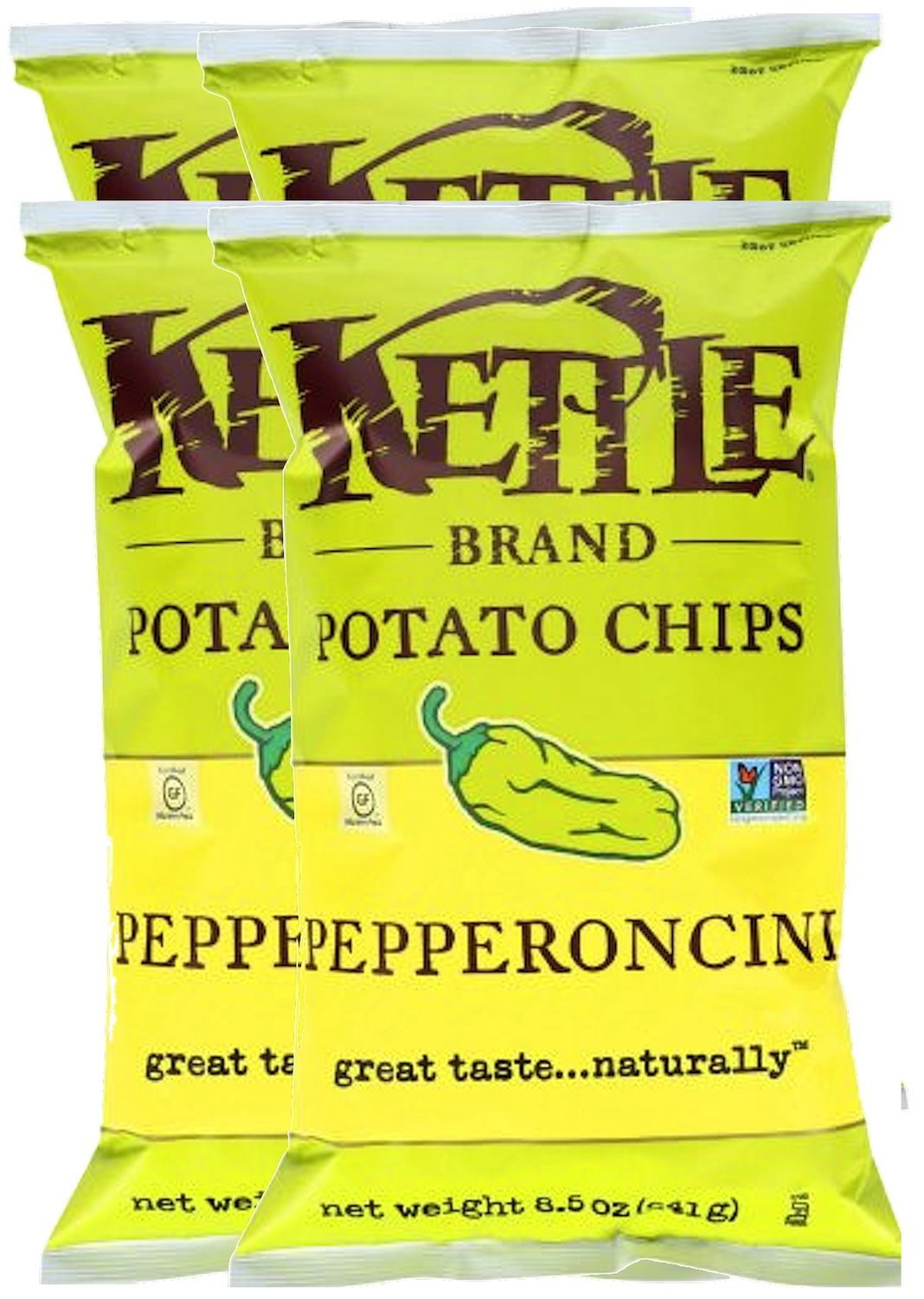 Kettle Brand Kettle Gluten Free Chips Pepperoncini 8.5oz Snack Care Package for College, Military, Sports (4)