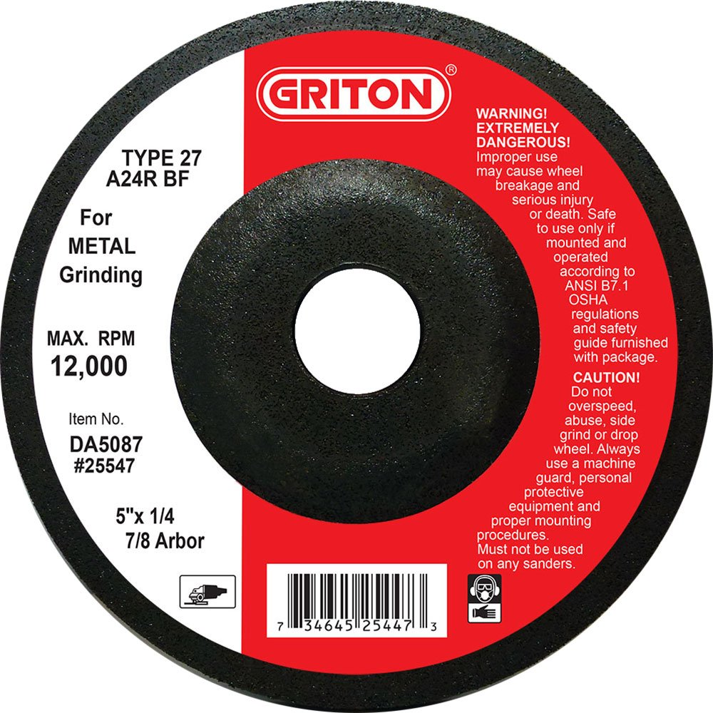 Griton DA5087 Type 27 Grinding Wheel Used on Metal, Aluminum Oxide, 12000 RPM, 5'' Diameter (Pack of 25)
