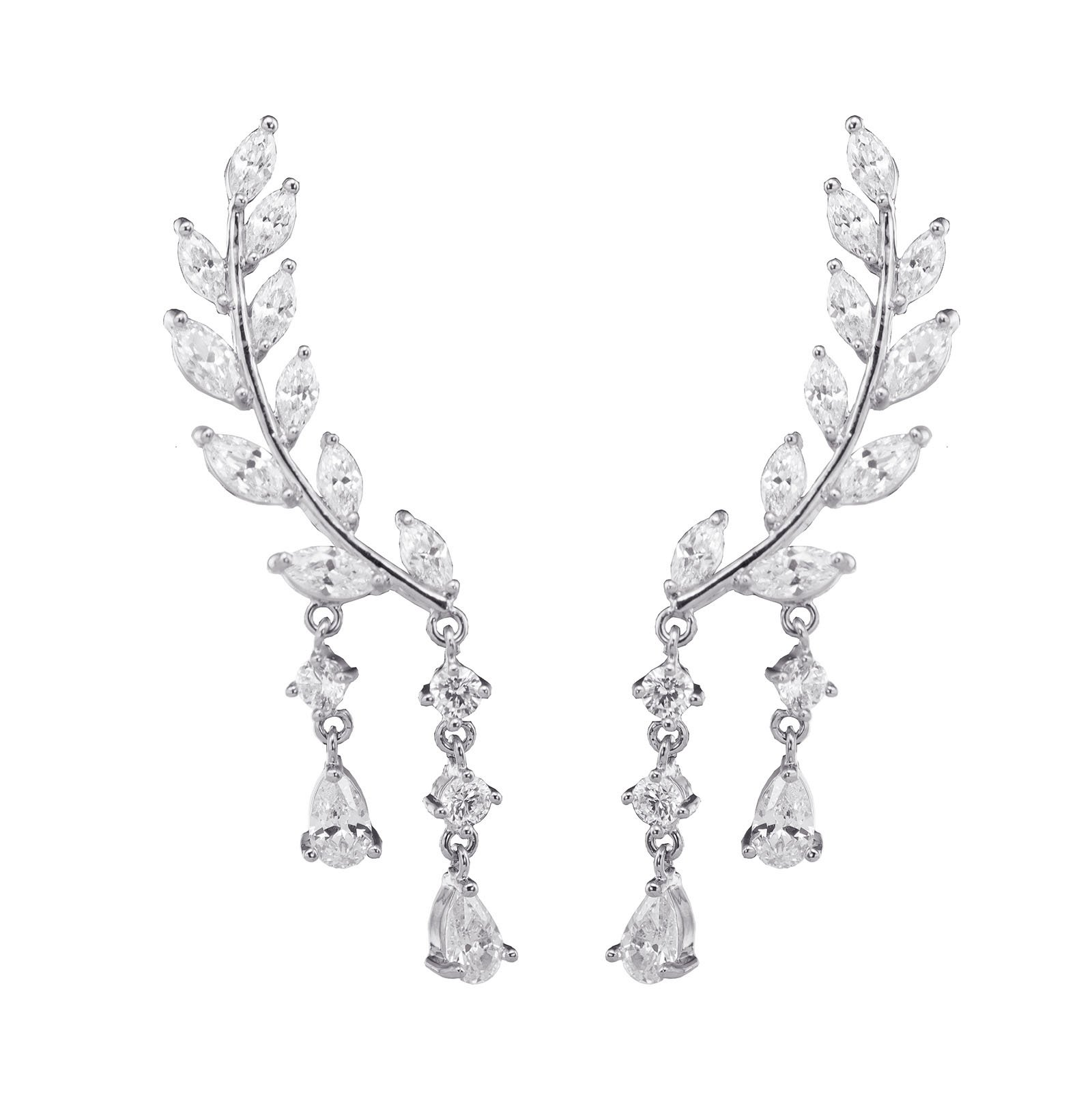Chichinside CZ Crystal Leaves Ear Cuffs Climber Earrings Sweep up Ear Wrap Pins 1 Pair (silver-plated-base)