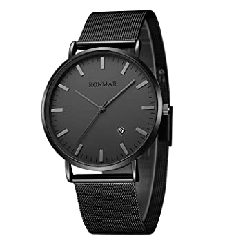 amp; Luxury Stainless Ronmar Care Black Men Watches Wrist Business Steel Rm9011g-a For With Personal com Amazon Calendar Health