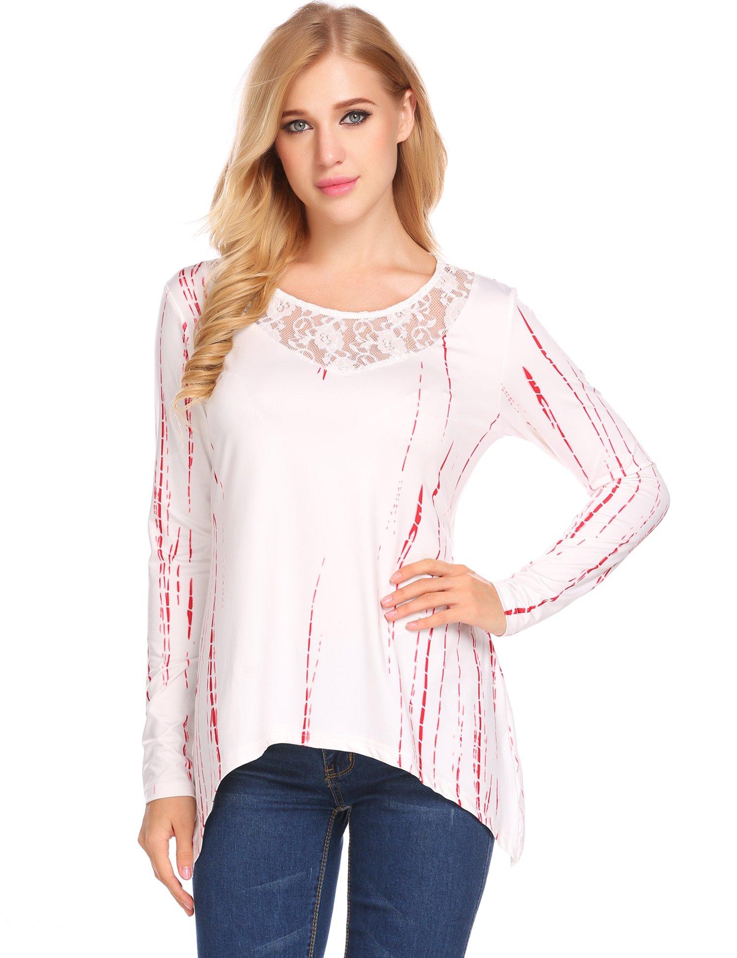 SummerRio Women's Long Sleeve Print Tunic Top Hollow Out Asymmetrical T-Shirt