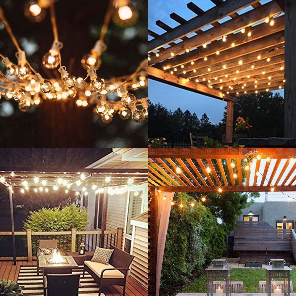 Outdoor String Lights FOCHEA 31ft G40 Outdoor Garden Globe String Lights Festoon Lighting for Indoor /& Outdoor D/écor Wedding Backyard Patio Cafe Party Decoration Warm White with 25Pcs E12 Bulbs