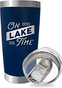 SassyCups On Lake Time Tumbler Cup | 20 Ounce Engraved Navy Stainless Steel Insulated Travel Mug with Lid | Lake House Decor | Lake Housewarming | Lake Lovers | Boat Owner | Lake Accessories