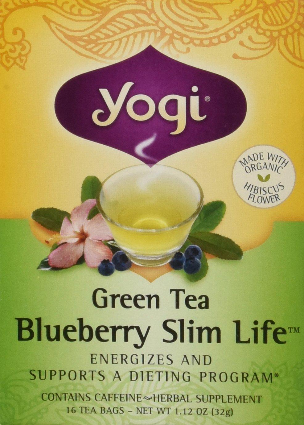 Yogi Tea Green Tea, Blueberry Slim, 1.12 Ounce