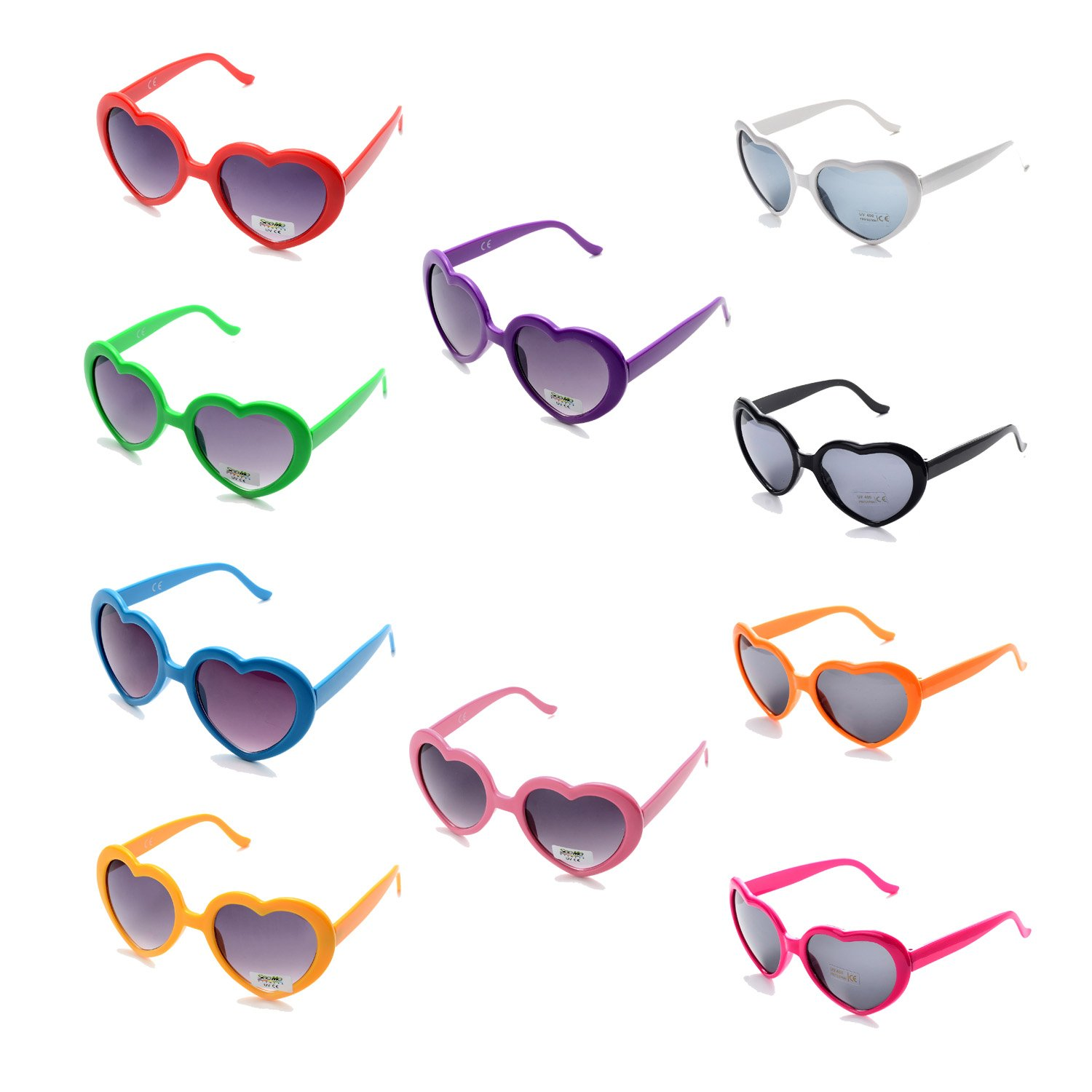 a9f8762eb42 Amazon.com  Pack of 10 Neon Heart Shaped Resin Sunglasses for Womens Kids  in Party and Festival (Mix10 Pack)  Toys   Games