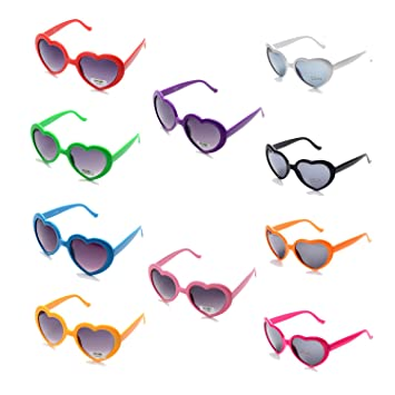 583ba99afea Amazon.com  Pack of 10 Neon Heart Shaped Resin Sunglasses for Womens ...