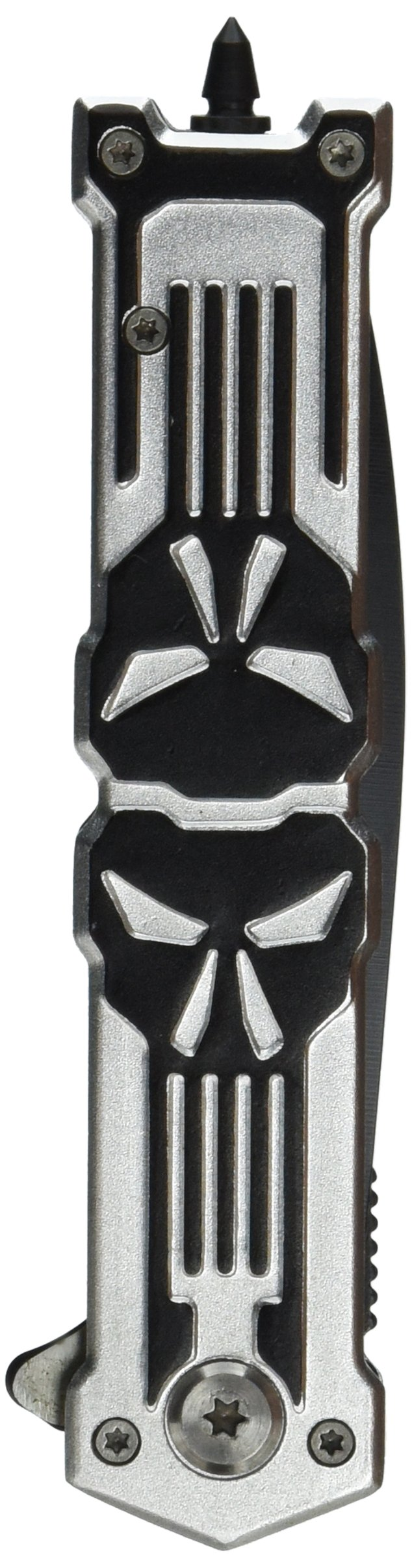 TAC Force TF-592SB Assisted Opening Folding Knife, Black Spear Point Blade, Black/Silver Skull Handle, 4-3/4-Inch Closed