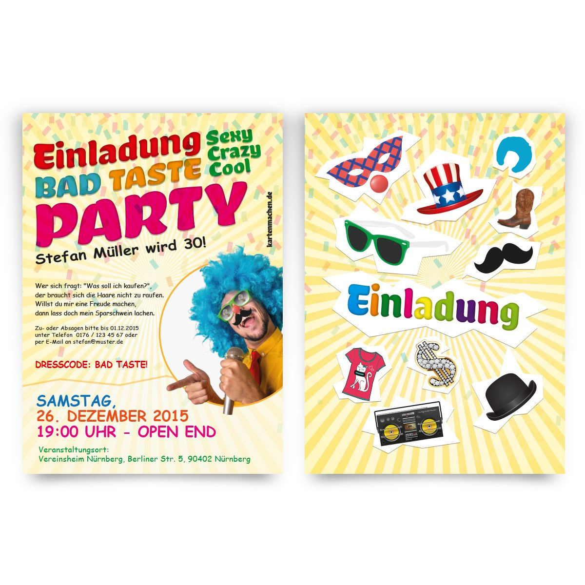 good Bad Taste Party Einladung #1: Invitations (Pack of 40)-Happy Birthday Bad Taste Costume Party Fancy Dress  Party Invitations: Amazon.co.uk: Office Products