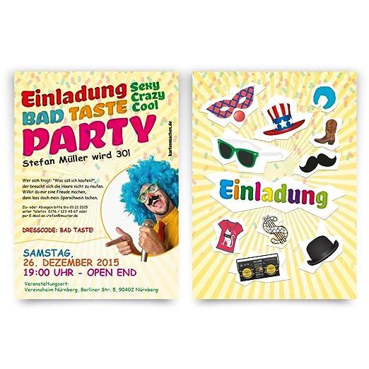 Einladungen (10 Stück) Zum Geburtstag Bad Taste Kostüm Party Fasching  Einladungskarten: Amazon.de: Bürobedarf U0026 Schreibwaren