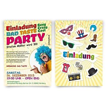 Einladungen (40 Stück) zum Geburtstag Bad Taste Kostüm Party ...