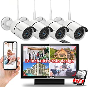 【8CH Expandable·Audio 】 Monitor Security Camera System,Home Surveillance Video Security System with 10inch Screen,4Pcs Outdoor/Indoor CCTV WiFi Cameras with 1TB Hard Drive House,8 Channel Camera Kits
