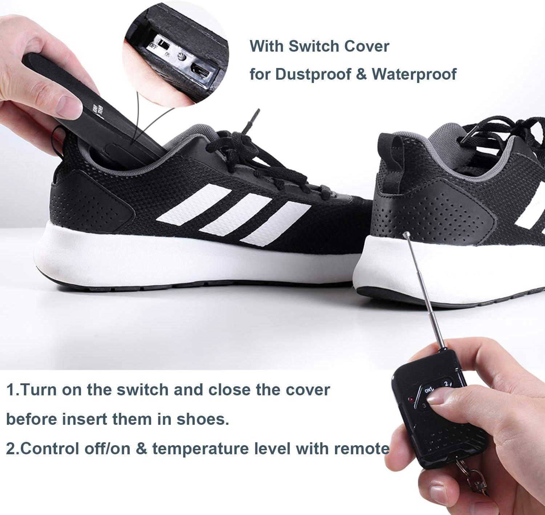 Plantillas de Calefacci/ón Suelas Calefactoras con Control Remoto Bater/ía Inal/ámbrica Unisex Plantilla Climatizada Recargable USB