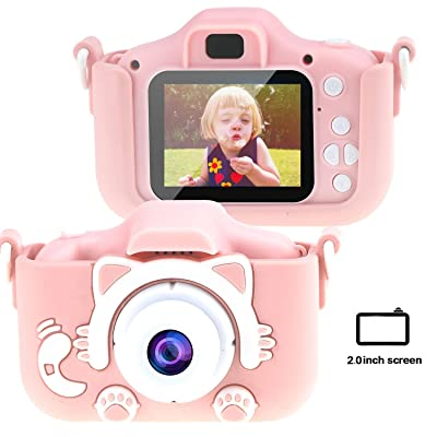 Tocosy Kids Digital Camera HD 12MP Mini Selfie Little Child Camcorder Video Record Photography Toys Birthday Gifts for Girls Boys Toddlers Age 3-15 (Dual Camera, Cat Pink): Camera & Photo