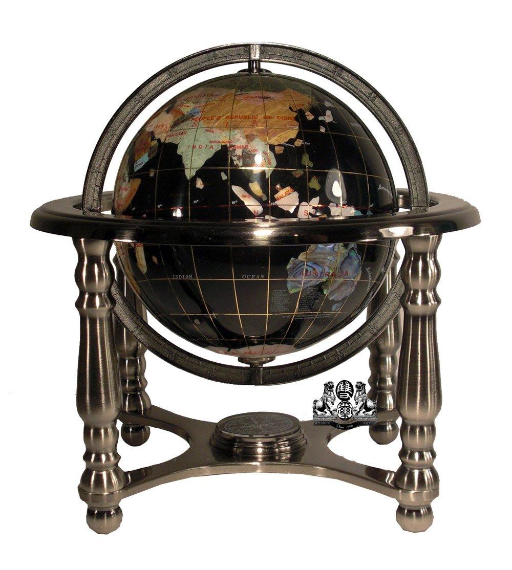 Unique Art 10-Inch Tall Black Onyx Ocean Gemstone World Globe with 4 Leg Silver Stand