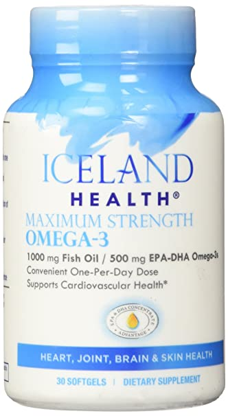 Iceland Health Maximum Strength Omega-3 - 1000mg Fish Oil - 500mg EPA-DHA