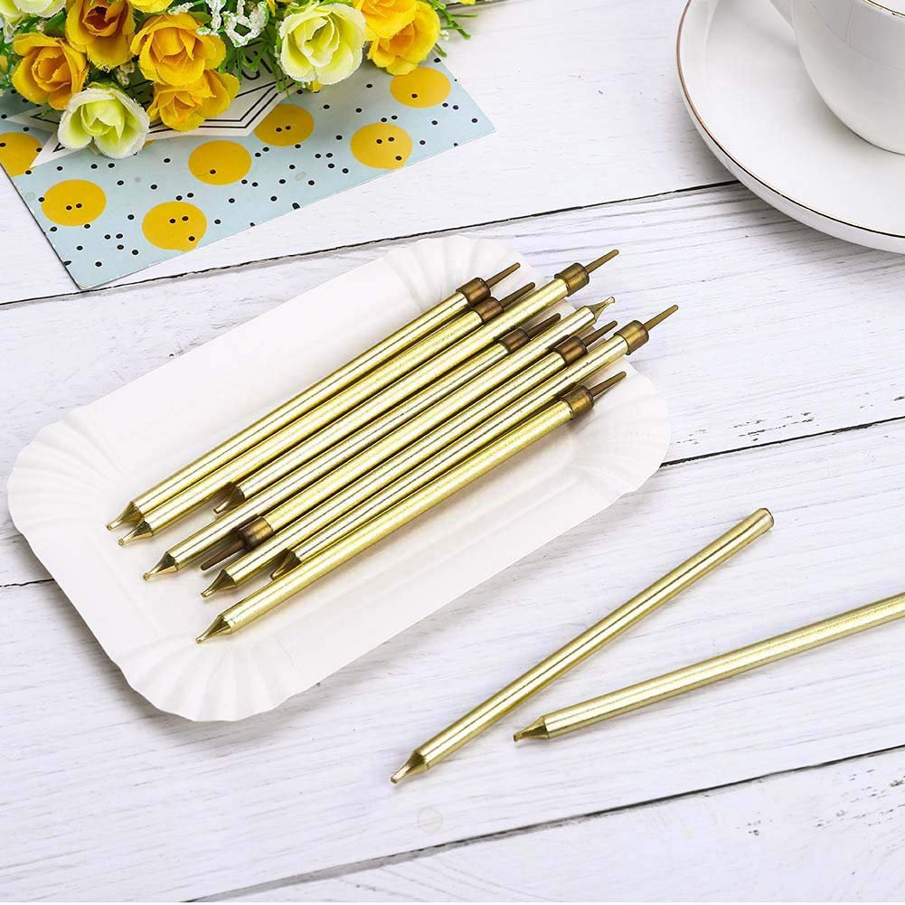 Gold Xinzistar 50 Pieces Party Long Thin Cake Candles Metallic Birthday Candles in Holders for Birthday Wedding Party Cake Decorations