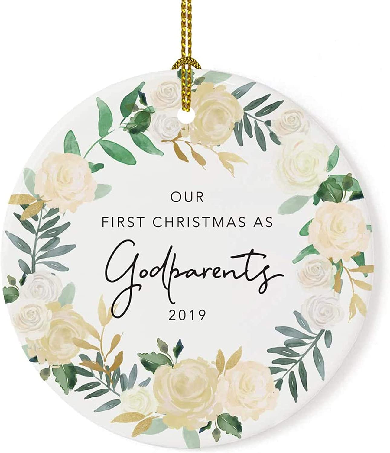 Big Incisors Sandals Custom Year Round Ceramic Porcelain Christmas Tree Ornament Keepsake Collectible Godparent Gift, Our 1st Christmas as Godparents 2020, Ivory Roses Floral Wreath, 1-Pack,7.27.2cm