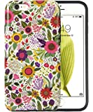 "iPhone 6S Case, Dimaka Floral Pattern Prime Cute Floral Inked Pattern Hybrid 2 in 1 Protective Candy Shell with Safe Rubber and Pime Girly Hardcover for iPhone 6/6S 4.7"" - Bush Flower [Shiny]"