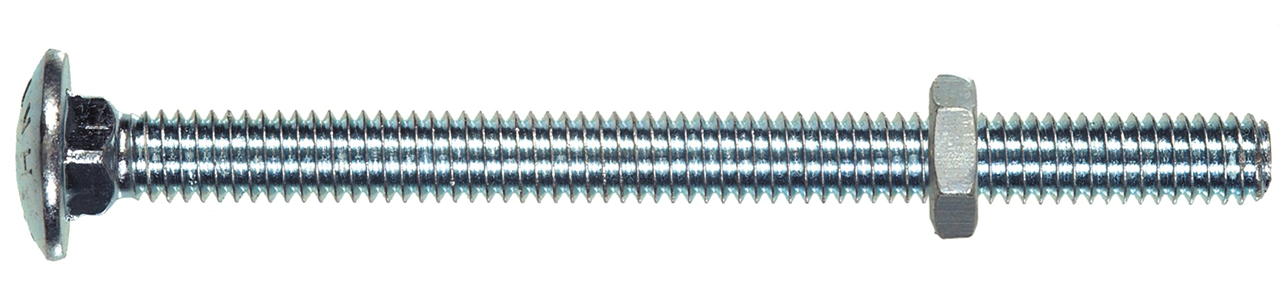 Hillman 2154 Carriage Bolt with Nut (3/16'' W x 4'' L) Steel, Zinc-plated, Silver, 25-Pack