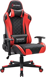 Devoko Racing Style Gaming Chair Height Adjustable Swivel PC Computer Chair with Headrest and Lumbar Support Leather Reclining Executive Office Chair (Red)