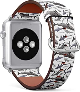 Compatible with Apple Watch 42/44mm (Big) - Replacement Accessory Leather Band Strap Bracelet Wristbands with Adapters (Colored Sharks On)