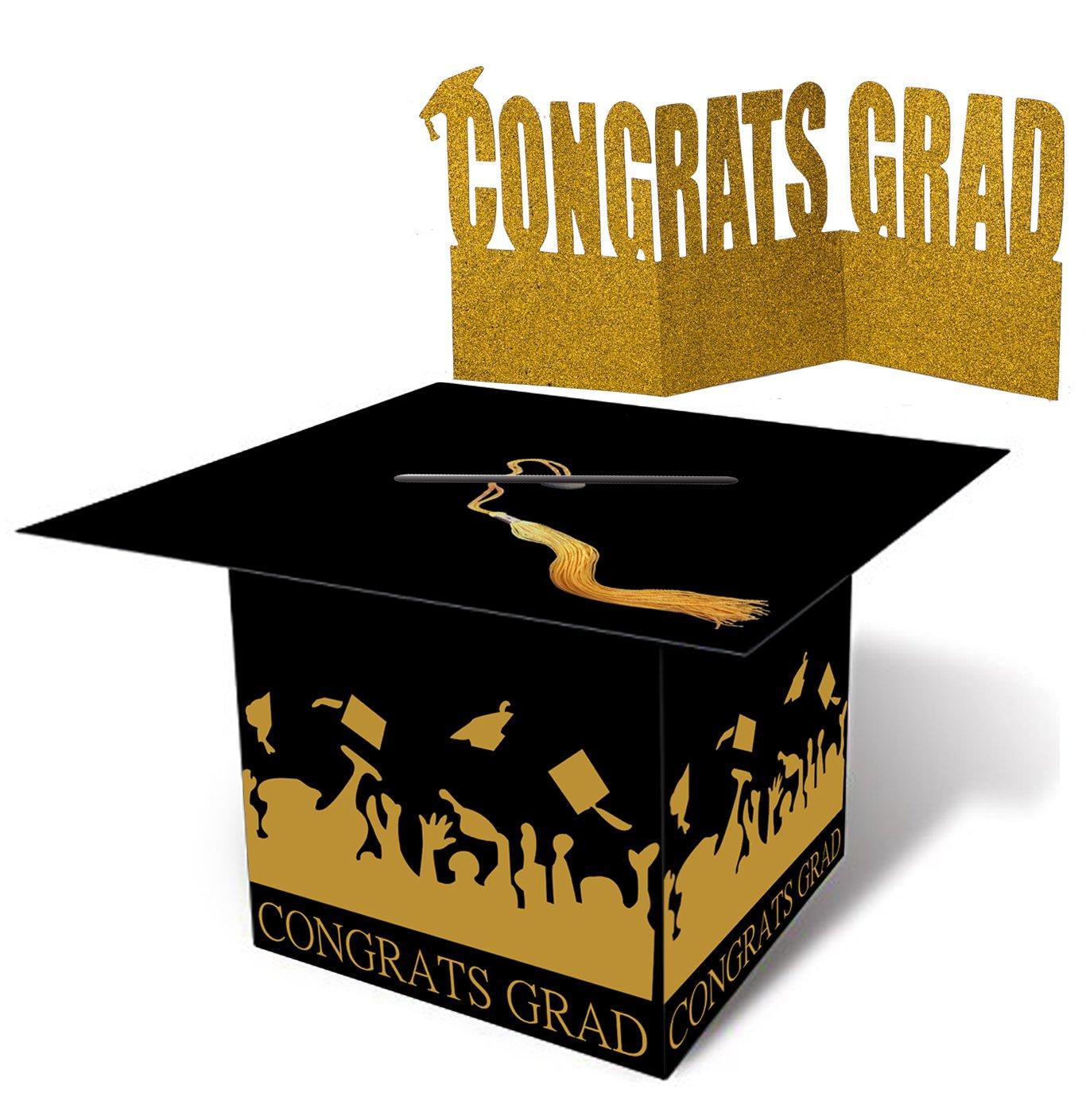 jollylife Grad Cap Card Box Centerpiece Holder- Graduation Party Supplies 2018 - Congrats Decorations