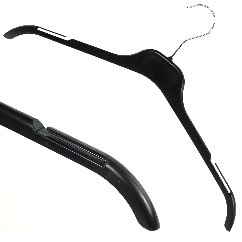 Hangerworld Lot de 15 Cintres en Plastique Noir pour Vêtements avec Encoches - 43cm PH-43-TOP-BLACK