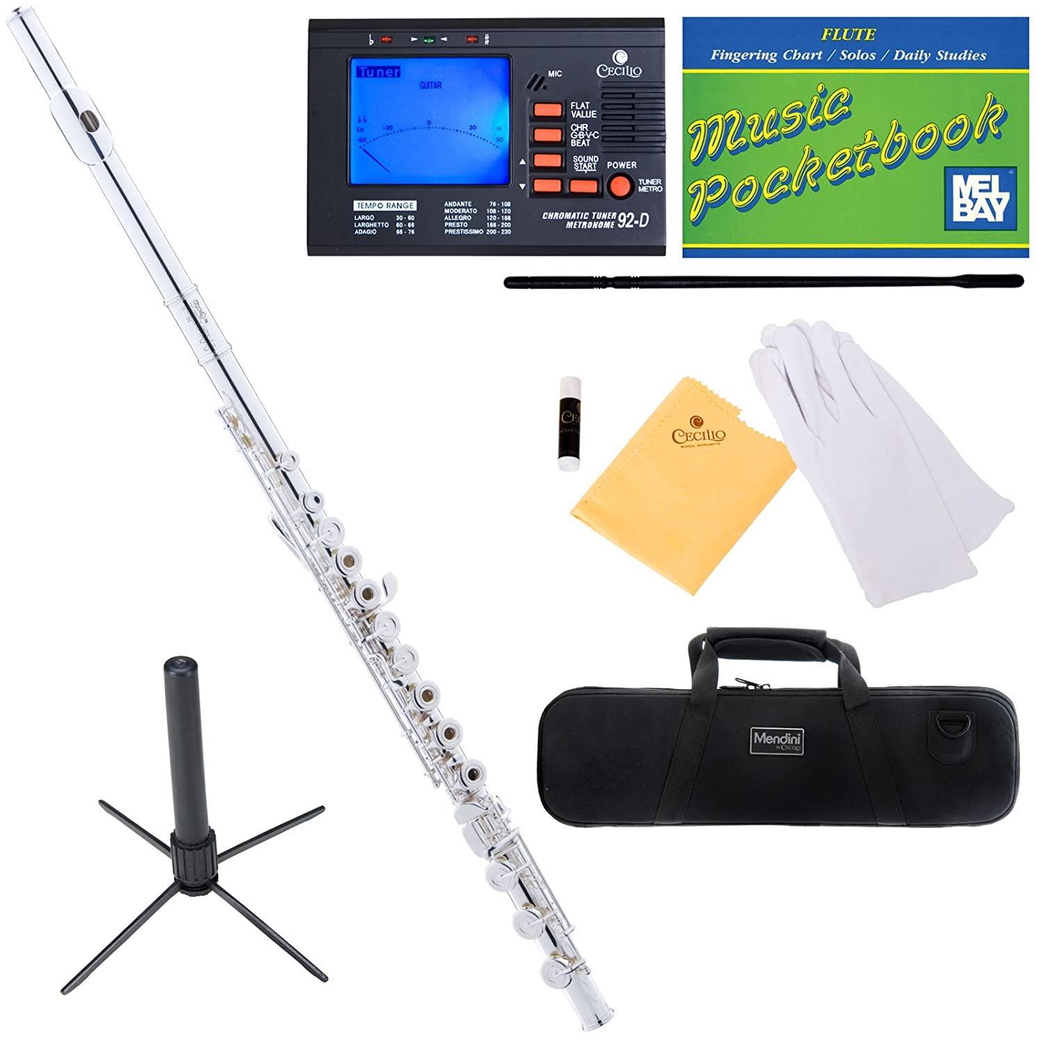 Mendini Closed/Open-Hole Key of C Flute with B-Foot Joint, Silver Plated and Tuner, Case, Stand, Pocketbook - MFE-30S+SD+PB+92D Mendini by Cecilio