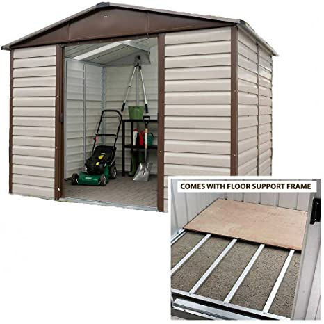 Yardmaster cobertizo (10 x 6 Apex Metal caseta de jardín con marco de suelo de