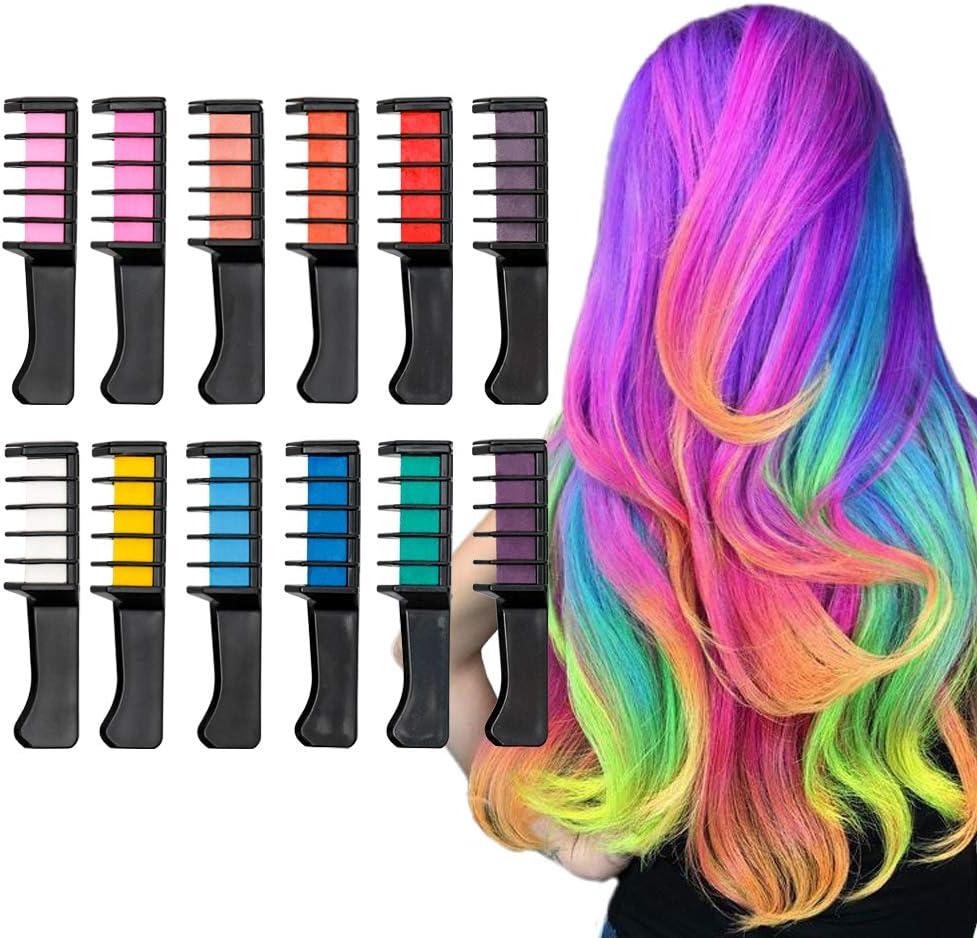 Peine de tiza para el cabello, 12 colores temporales lavables para teñir el cabello, fiestas, Navidad y bricolaje