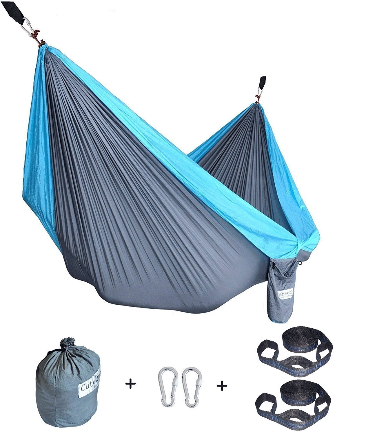 Cutequeen Trading Parachute Nylon Fabric Hammock with Tree Straps;Color: Grey/Sky Blue by Cutequeen (Image #2)