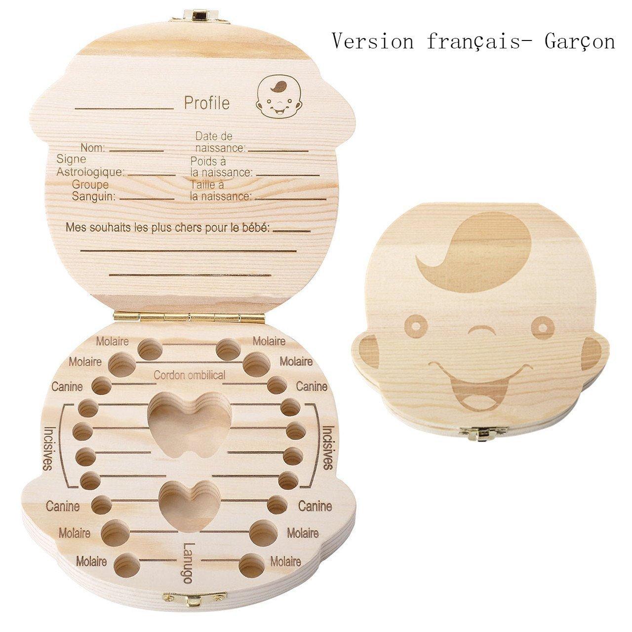 Hosaire Boîte dents en Bois Boîte de Organisateur Pour Bébé Dents de lait Cadeau d'amour pour petit neveu version français- Fille