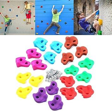 Lehom 20 Rocks Soporte de Escalada con Herramientas de Montaje para Escalada de niños para su DIY Pared de Piedra de Roca, Edades 3 años y más