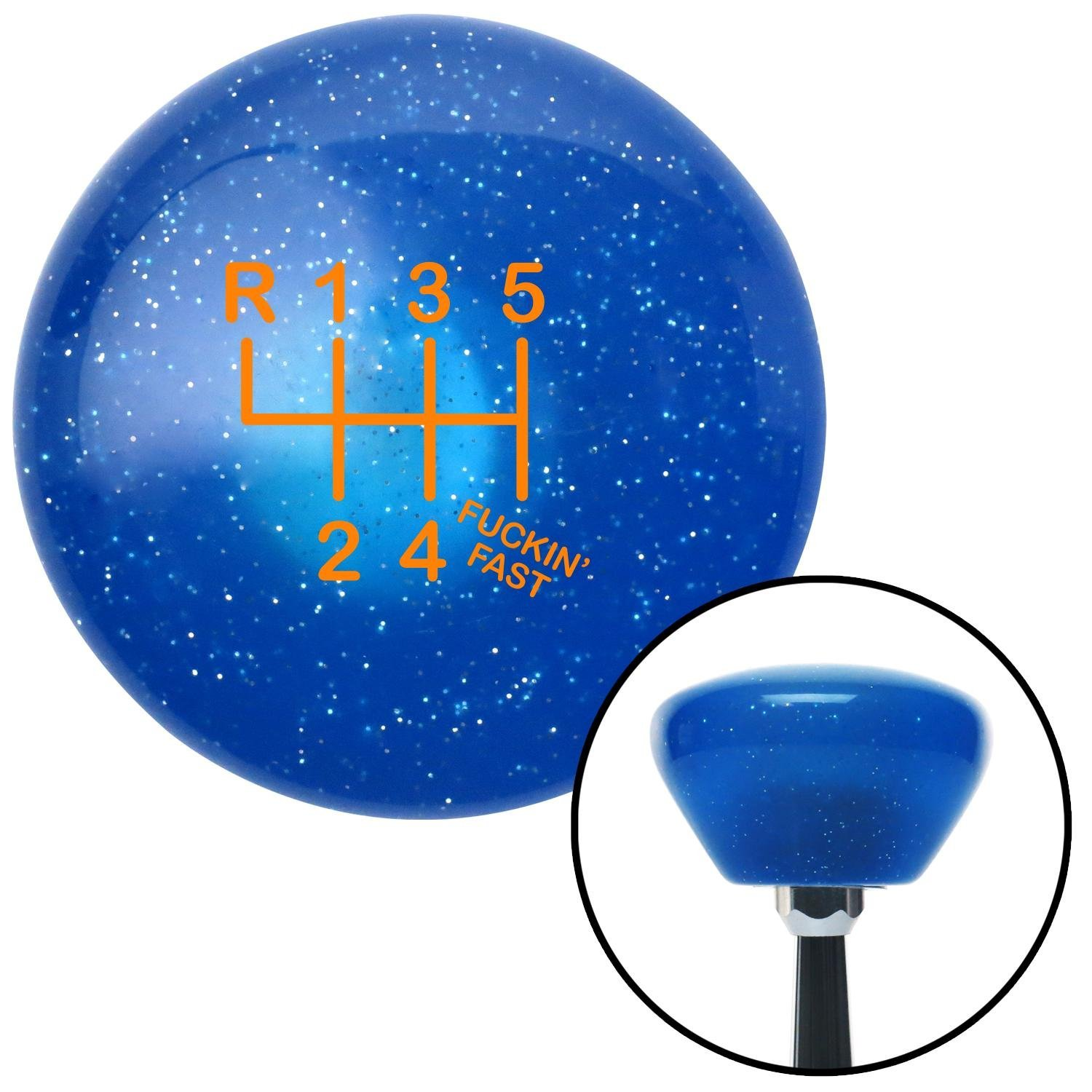 Orange Shift Pattern Fcking Fast Style 20n American Shifter 192253 Blue Retro Metal Flake Shift Knob with M16 x 1.5 Insert