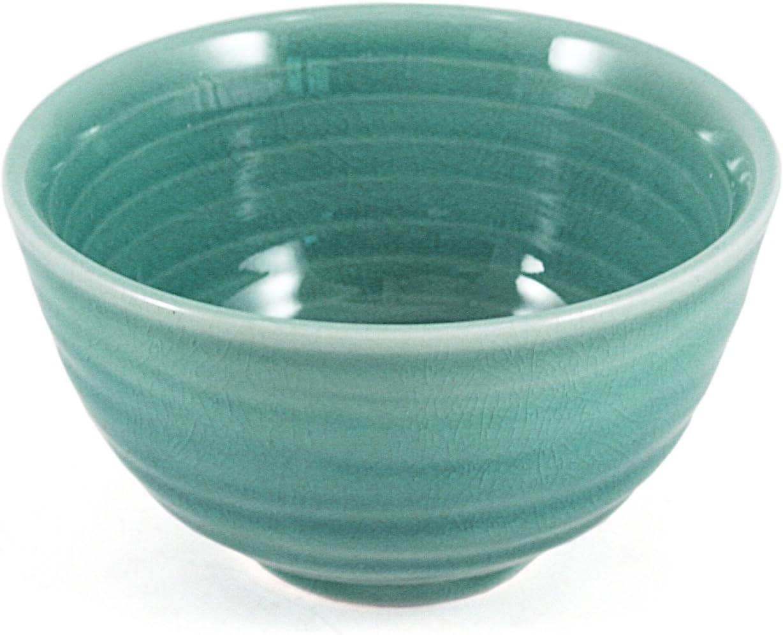 Green Porcelain Crackled Glass Soup/Rice Bowls, Set of 6