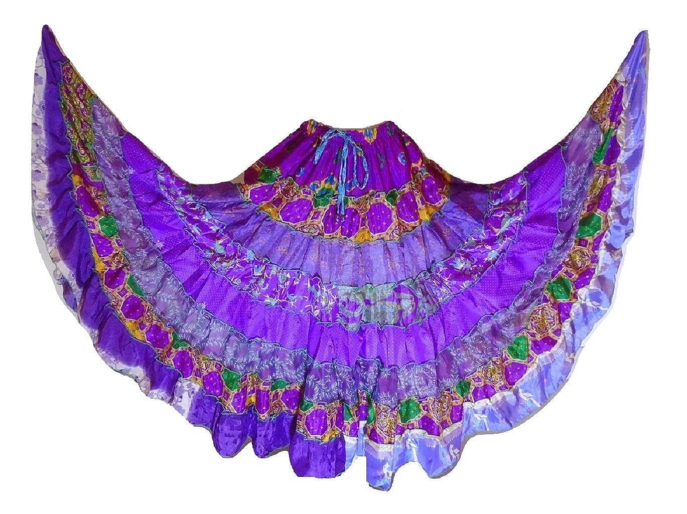 Dancers World Ltd Gonna Tribale Gypsy Maxi a 9 Livelli Gonna di Danza del Ventre Gonna in Misto Seta Folk Gonna Adatta per S M L