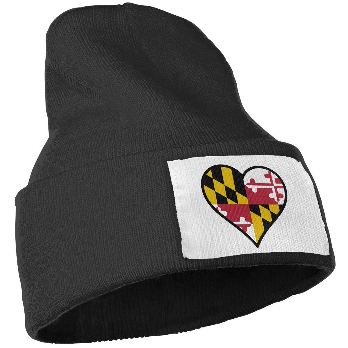 JZMY6 Heart Maryland State Flag Winter Warm Beanie Hat Skull Cap