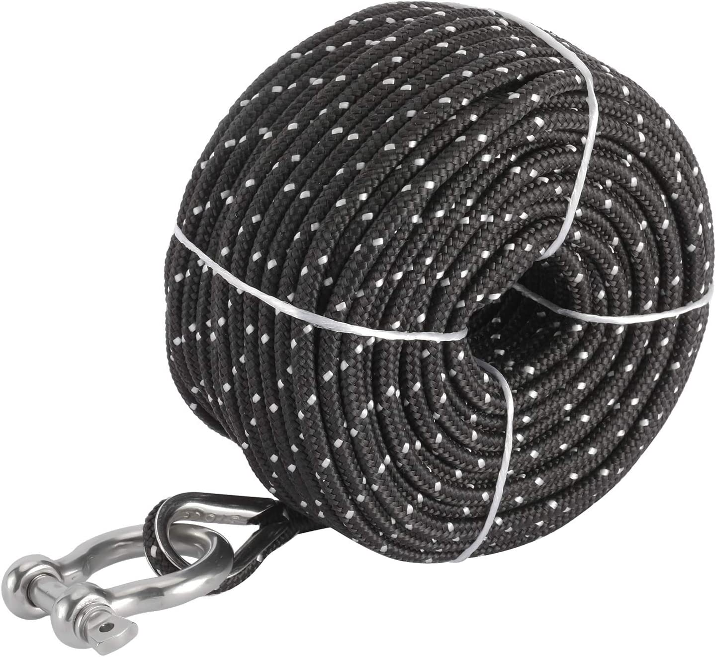 NovelBee 3//16 Inch X 100 Feet Double Braid Nylon Anchor Line with Stainless Steel Thimble and Hook