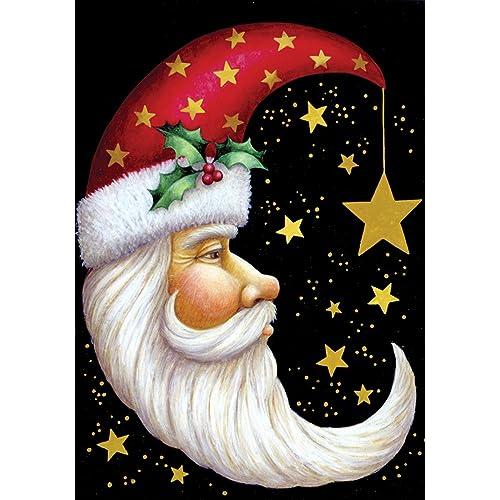 toland home garden santa moon 28 x 40 inch decorative winter christmas holiday celestial star house