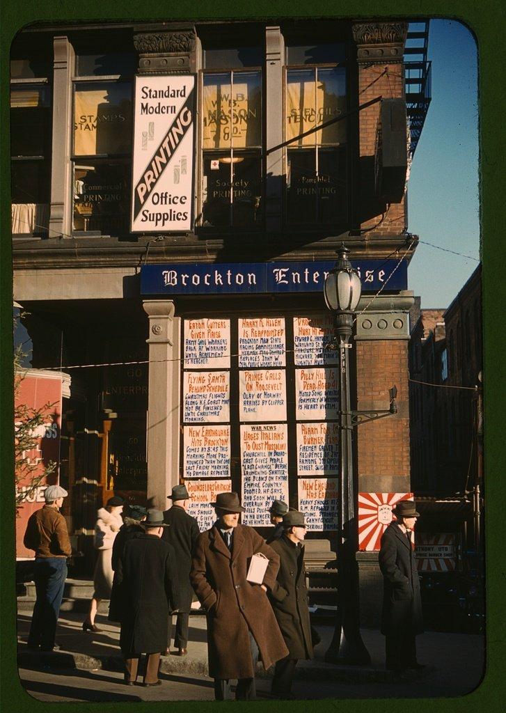 Reproduced Photo of Headlines Posted in Street-Corner Window of Newspaper Office Brockton Enterprise Brockton, Mass. 1940 Delano C Jack 24a