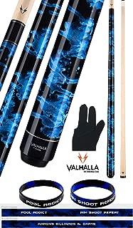 product image for Valhalla VA211 by Viking 2 Piece Pool Cue Stick Blue Marble Paint No Wrap 18-21 oz. Plus Billiard Glove & Bracelet