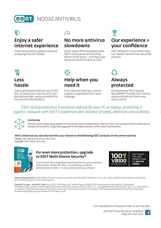 ESET NOD32 Antivirus 2019 - 1 Device | 1 Year | Windows | License key- NO CD