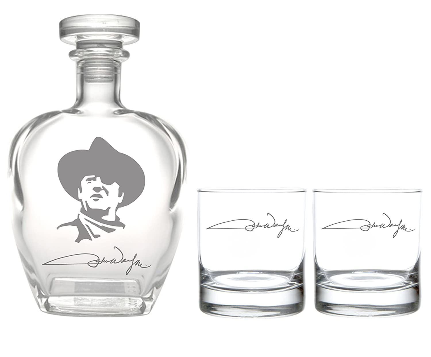 Rolf Glass John Wayne Signature Whiskey Decanter with On The Rocks (Set of 2), Clear 816913