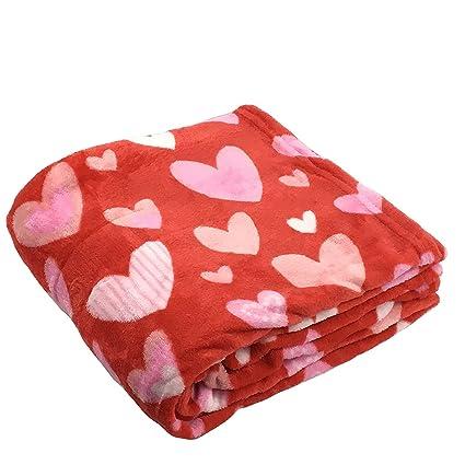 Morgan hogar de San Valentín Día rosa y blanco corazones suave y acogedor de peluche manta