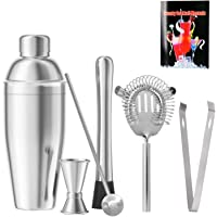 Cocktail Shaker Set of 6 Barware Kit, 18 oz Stainless Steel Martini Shaker with Built-in Strainer, Muddler, Double…
