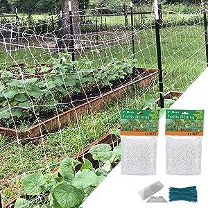 2Pack Trellis Netting 5x15ft&5x30ft Garden Netting All Weather Garden Trellis for Flowers Pea Cucumber Tomatoes Vine Plants Flexible Plant Trellis with Free 100pcs Plant Ties, 10pcs Knife Blades