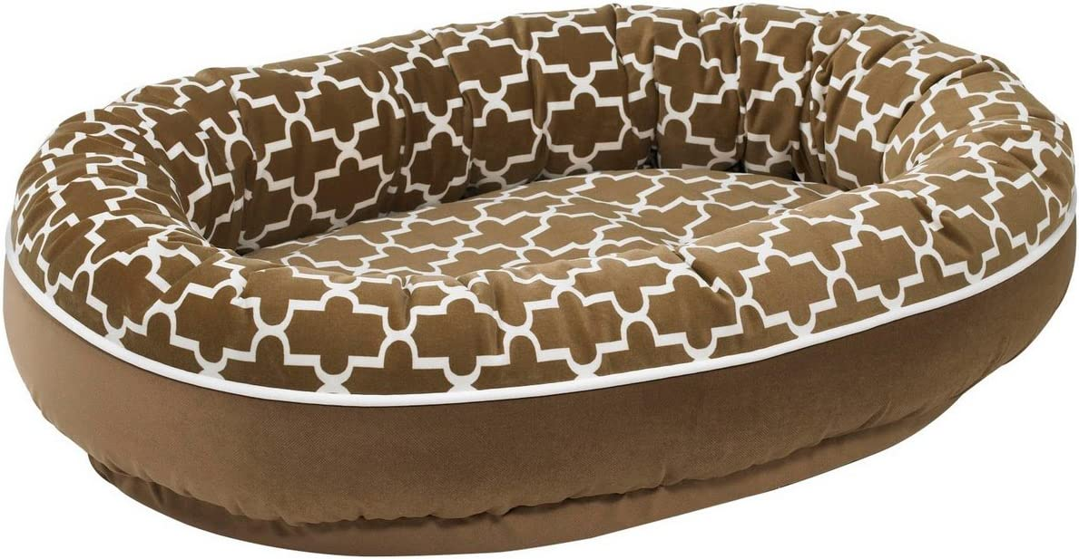 Diam Microvelvet Orbit Donut Dog Bed Size Medium 35 L x 27 W , Color Cedar Lattice toffee