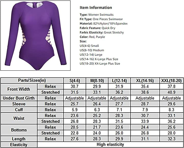 266ea2c51 ROSKIKI Women's Long Sleeve Zipper Quick Dry One Piece Bikini Racing  Swimsuit US (4-. Back. Double-tap to zoom